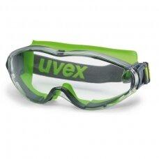 Apsauginiai akiniai Ultrasonic, skaidri panoraminė linzė, supravision extreme (nesibraižantys ir nerasojantys) padengimas, pilka/laimo spalva, guminė juostelė