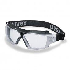 Apsauginiai akiniai Uvex CX2 Sonic, skaidri panoraminė linzė, supravision extreme (nesibraižantys ir nerasojantys) padengimas, guminė juostelė, juoda/balta, smūgio atsparumo kl. B RT (mažmeninė pakuotė)