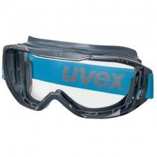 Apsauginiai akiniai Uvex Megasonic, skaidri sferinė linzė, supravision excellence padengimas (nerasojantis iš vidaus, nesibraižantis išorėje), antracito/mėlyna spalva