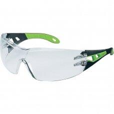 Apsauginiai akiniai Uvex Pheos skaidria linze, supravision excellence (nesibraižantys ir nerasojantys) padengimas, juodos/žalios kojelės. Individuali mažmeninė pakuotė