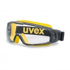 Apsauginiai akiniai Uvex U-Sonic, skaidri panoraminė linzė, supravision extreme (nesibraižantys ir nerasojantys) padengimas, sumažinta ventiliacija, guminė juostelė, pilki/geltoni, smūgio atsparumo kl. B