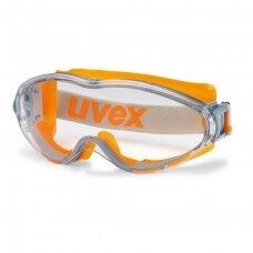 Apsauginiai akiniai Uvex Ultrasonic, skaidri panoraminė linzė, supravision excellence padengimas, guminė juostelė, oranžiniai. Supakuota mažmeninėje kartoninėje dėžutėje 1 vnt