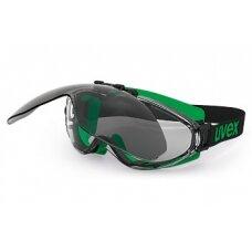 Apsauginiai suvirinimo pakeliami akiniai Uvex Ultrasonic flip-up. Skaidri linzė excellence + tamsi linzė 5 infradur Plus, guminė juostelė