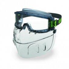 Apsauginių akinių Uvex Ultravision ir veido skydo rinkinys. Skaidri linzė, supravision excellence (nesibraižantys ir nerasojantys) padengimas, guminė juostelė.