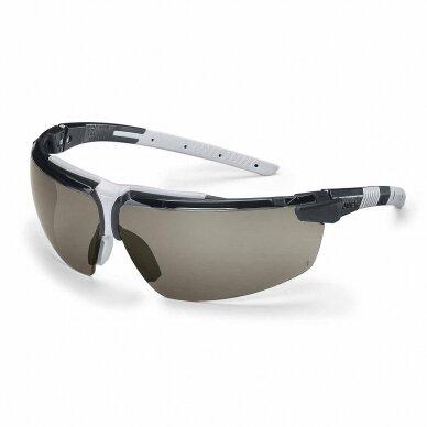 Apsauginiai akiniai Uvex i-3 pilka linze, supravision excellence (nesibraižantys ir nerasojantys) padengimas, juodos/pilkos kojelės. Mažmeninė pakuotė