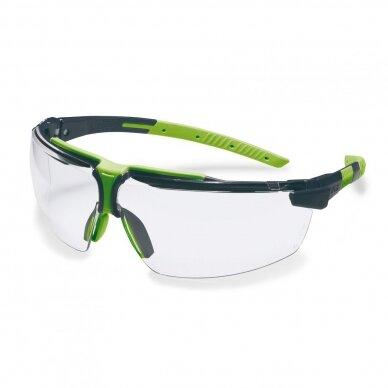Apsauginiai akiniai Uvex i-3 S (siauresnė versija) skaidria linze, supravision excellence (nesibraižantys ir nerasojantys) padengimas, juodos/žalios kojelės.