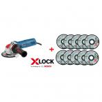 BOSCH  GWX 9-125 S Kampinis šlifuoklis su X-LOCK (X-LOCK diskeliai 10vnt DOVANA)
