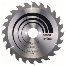 Bosch pjūklo diskas 190x30x2,0 T24 Optiline Wood 2608641185