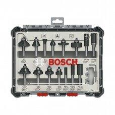 BOSCH Frezų rinkinys 8mm. 15 vnt. 2607017472
