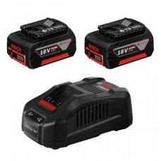 Bosch GBA 18 V-Li; 18 V; 5,0 Ah 2 vnt. akumuliatoriai + įkroviklis GAL1880CV