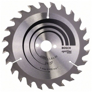 Bosch pjūklo diskas 160x20x1,8x24T Optiline Wood  2 608 641 171