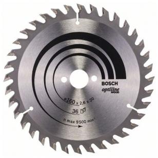 Bosch pjūklo diskas 160x20x2,6x36T Optiline Wood 2 608 640 597
