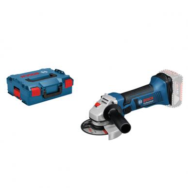 BOSCH akumuliatorinis kampinis šlifuoklis GWS 18-125 V-LI L-Box (18v Be akumuliatorių ir kroviklio)