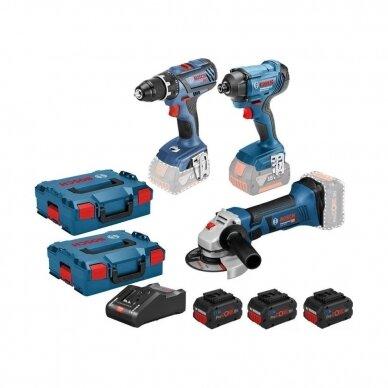 Bosch (GSR 18V-28 + GDR 18V-160 + GWS 18-125 V-Li) Įrankių komplektas  (3x4,0 Ah 18V Procore akumoliatoriai)