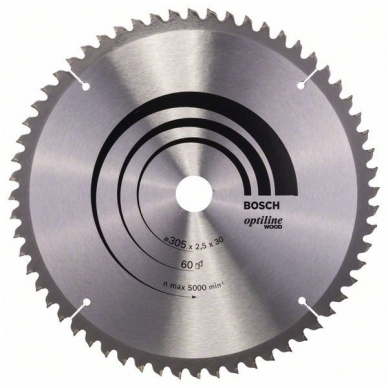 Bosch pjūklo diskas 305x30x2,5 T60 Optiline Wood 2608640441
