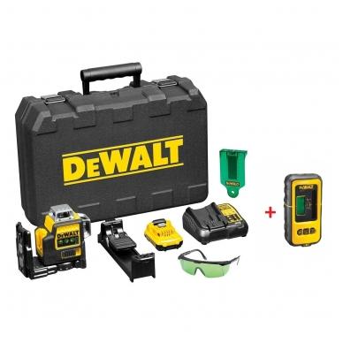 DeWALT DCE089D1G kryžminių linijų lazeris + DeWALT lazerio detektorius
