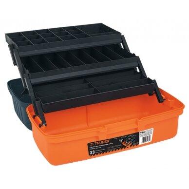 Įrankių dėžė oranžinės sp. su patogiai atsidarančiais skyriais 410x220x210mm., Truper 10553
