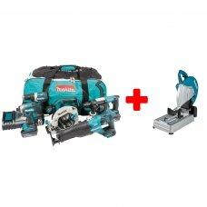 MAKITA DLX5032T Akumuliatorinių įrankių rinkinys (18V 3 x 5Ah akumuliatoriai) + DLW140Z akum. metalo pjovimo staklės