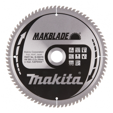 Makita Pjovimo diskas 260x30x2,3mm 80T B-09070