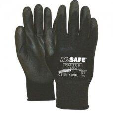 Nailoninės pirštinės, padengtos poliuretanu M-Safe PU-Flex B, juodos, dydis 7/S