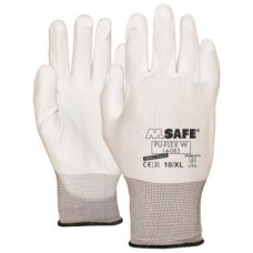 Nailoninės pirštinės, padengtos poliuretanu M-Safe PU-Flex W, baltos, dydis 7/S
