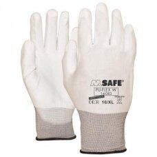 Nailoninės pirštinės, padengtos poliuretanu M-Safe PU-Flex W, baltos, dydis 9/L