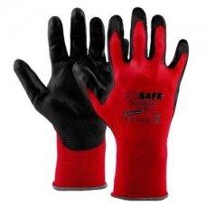Nailoninės pirštinės, padengtos poliuretanu M-Safe PU-light  juodos/raudonos, ypač plonos, dydis 7/S