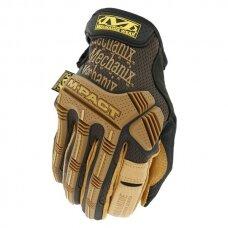 Pirštinės Mechanix Durahide M-Pact® 9/M dydis. Velcro, TrekDry®, oda,  delno, krumplių, pirštų apsauga, D30® apsauga nuo vibracijos