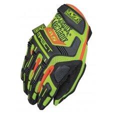 Pirštinės  Mechanix Hi-Viz M-Pact® E5 geltonos, padidinto matomumo, 11/XL dydis. Velcro, TrekDry®, dirbtinė oda, delno, krumplių, Armortex®, pirštų apsauga, D30® apsauga nuo vibracijos, E5 lygio atsparumas pjūviams delno srityje, touchscreen technologija