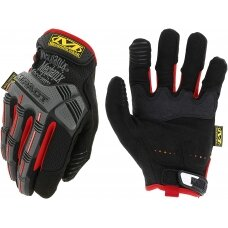 Pirštinės Mechanix M-Pact® 52 juodos/raudonos 11/XL dydis. Velcro, TrekDry®, dirbtinė oda, delno, krumplių, Armortex®, pirštų apsauga, D30® apsauga nuo vibracijos