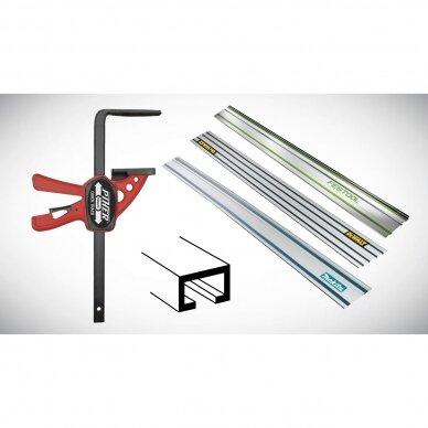 PIHER Greitos fiksacijos spaustuvas liniuotėms ir darbastaliams Quick T-Track 7x30cm, max 60kg 2