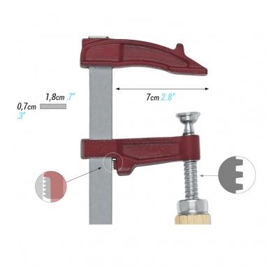 PIHER Spaustuvai MM 15cm, žiočių gylis 7cm, max 4000N, medine rankena 2