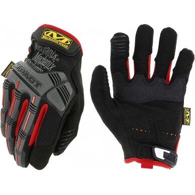 Pirštinės Mechanix M-Pact® 52 juodos/raudonos 9/M dydis. Velcro, TrekDry®, dirbtinė oda, delno, krumplių, Armortex®, pirštų apsauga, D30® apsauga nuo vibracijos