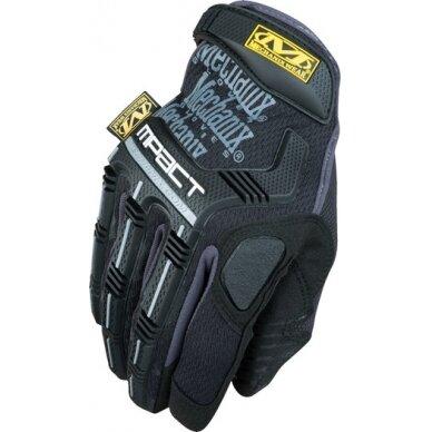 Pirštinės Mechanix M-Pact® 58 juodos 11/XL dydis. Velcro, TrekDry®, dirbtinė oda, delno, krumplių, Armortex®, pirštų apsauga, D30® apsauga nuo vibracijos