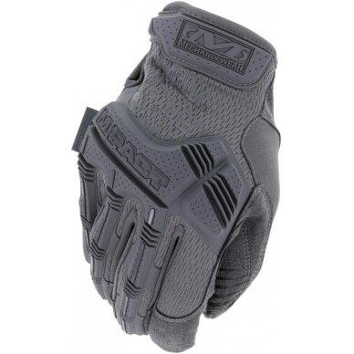 Pirštinės Mechanix M-Pact® Wolf Grey pilkos 8/S dydis. Velcro, TrekDry®, dirbtinė oda, krumplių apsauga, antivibracinė deldo sritis