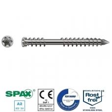 SPAX Medsraigčiai terasiniai nerūdijančio plieno 5x70 TORX  (100vnt)