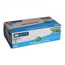Vienkartinės nitrilinės pirštinės M-Safe 4520, 100 vnt dėžėje, 0,1mm storis, žydros, 9/L