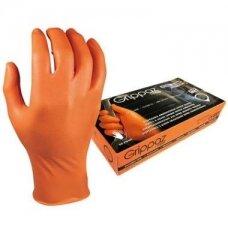 Vienkartinės nitrilinės pirštinės M-Safe Grippaz 246OR, 50 vnt dėžėje, 0,15mm storis, oranžinės, 9/L