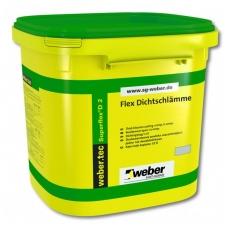 weber.tec Superflex D 2  Dvikomponentė labai elastinga cementinė hidroizoliacija 6 kg plastikinės pakuotės (2 komponentai)