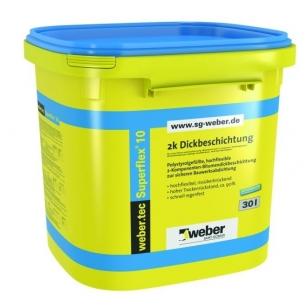 weber.tec Superflex 10 dviejų komponentų bituminis hidroizoliacinis mišinys 30 litrų plastikinės talpyklos
