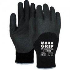 Žieminės pirštinės M-Safe Maxx-Grip Winter 47-280, dydis 9/L, juodos su 3/4 grubaus latekso padengimu